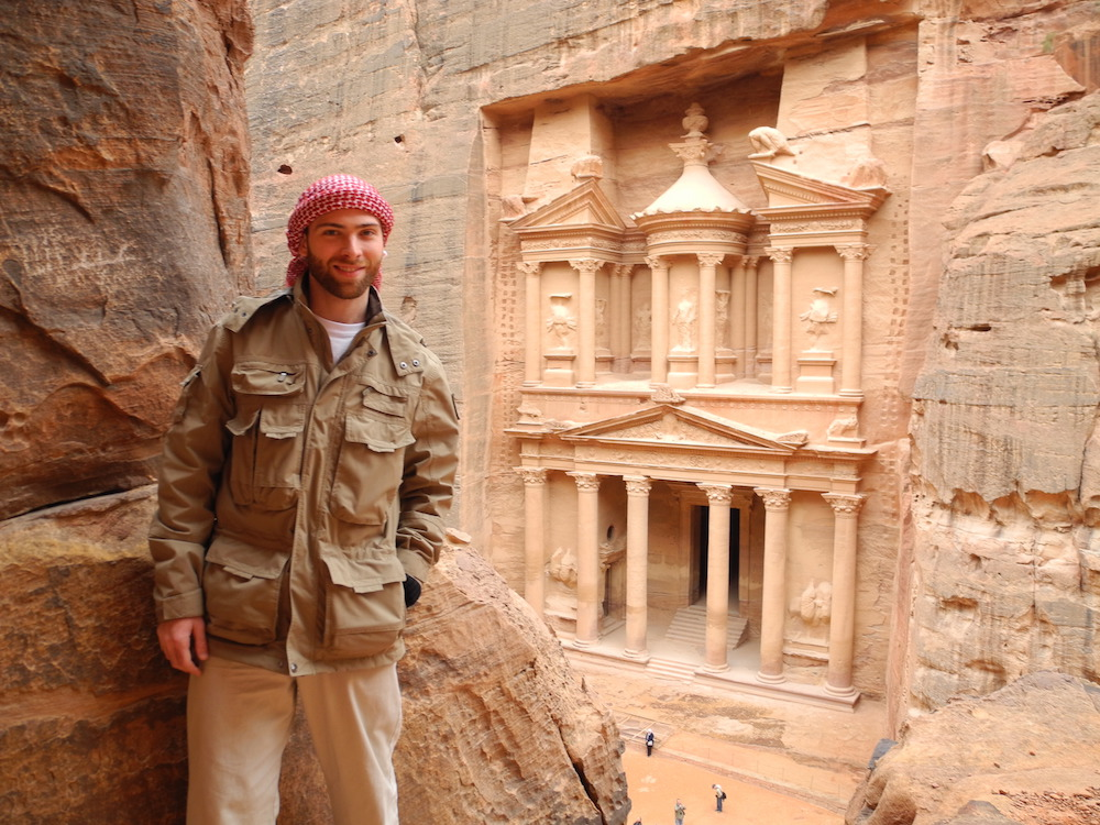 a man traveling to petra
