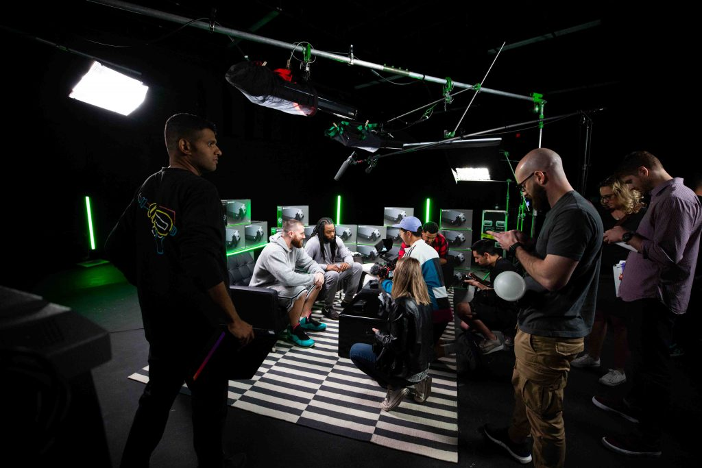 a film crew live streaming a segment for xbox